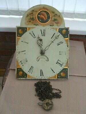 "Antique 30 Hour Long-Case Clock Movement Only ""Painted Dial"""