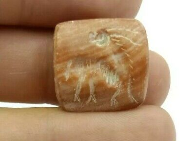 Natural Antique Agate Horse Deer Engrave Intaglio Seal Stamp Square Pendant Bead