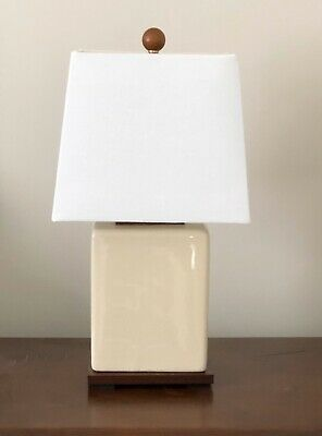 Ralph Lauren Table Lamp Crackle Finish Cream New with Tags wood base linen shade