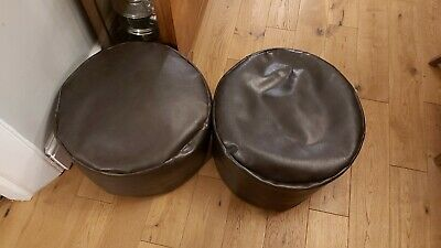 Two Faux Leather Dark Brown Bean Bag Footstools - Beanbag Pouffe Seats
