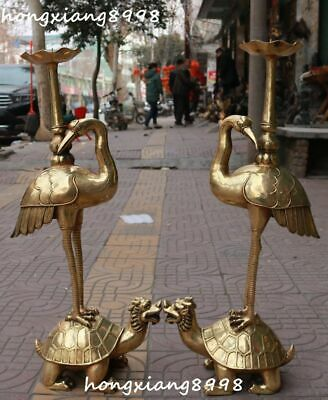 """30""""China Bronze Red-crowned Crane Stand Dragon Tortoise Candle Stick Statue pair"""