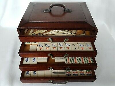 ANTIQUE Early 20th Century CHINESE WOODEN CASED MAHJONG SET GAME Bone & Bamboo