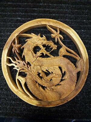 Vintage Chinese real Wood Wall Dragon Carved Art Wooden antique hanging mystic