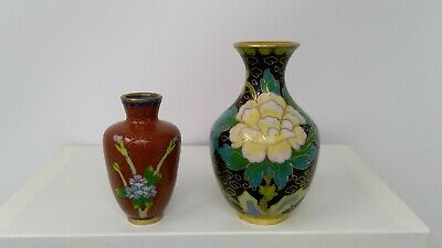 "2 Miniature Cloisonne Vases with Floral Designs - 3"" & 2 1/8"" tall"