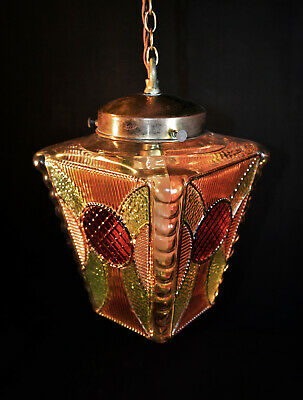 Rare 1940s art deco stained geometric architectural Gilded glass ceiling lantern