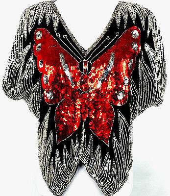 VTG Womens 100% SILK BUTTERFLY Sequins Beaded Poncho Style Blouse Top Sz S Black