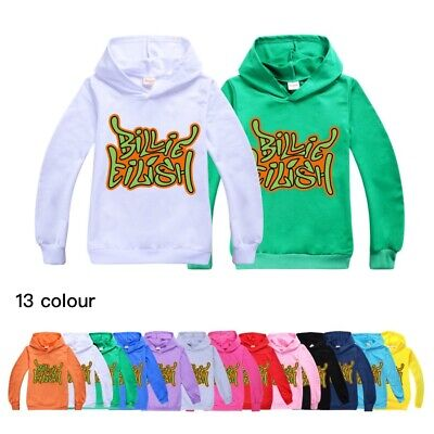 New Billie Eilish Kids Boys Girls Hoodies Sweatshirt Long Sleeve Hooded Tops UK