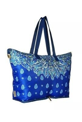 LILLY PULITZER Getaway Packable Tote Bright Navy Showdown Engineered NWOT