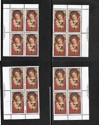 CANADA 1978 CHRISTMAS--PAINTINGS-- 12  CENTS  M.,S. of 4 PLATE BLOCKS # 773