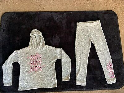 Girls Athletic Lightweight 2 Piece Tracksuit Grey Age 10 Years Worn Twice