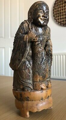 Fine 18/19th Old Antique Chinese Bamboo Figure of Buddha with Deer Wood Carving