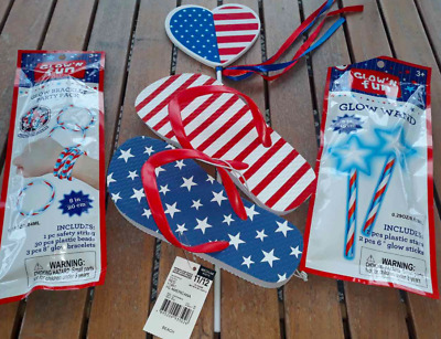 USA Flag Red White Blue Flip Flops Girls 11/12 Glow Wand Bracelet Party Pack NEW