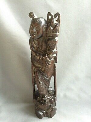 Chinese figure C19th silver inlaid carved wood figure