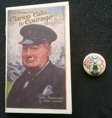 Winston Churchill Pocket Size Booklet Great Speeches  & A Badge  Wwii ,  History