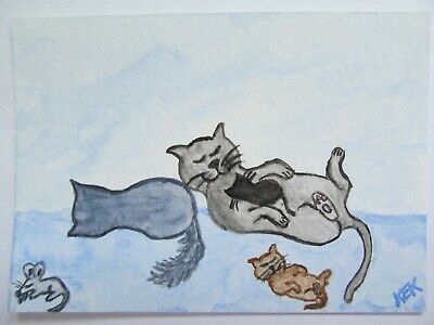 ACEO Original Watercolor Cat Kitty Kittens Mouse Cat Nap in Afternoon No 85 KEK