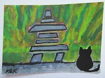 ACEO Original Watercolor Cat Canadian Inukshuk & Kitty Northern Lights No 87 KEK