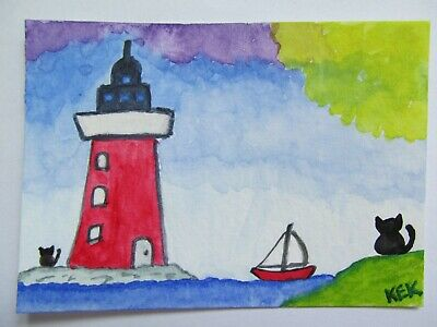 ACEO Original Watercolor Black Cat Lighthouse Kitty Ocean Sailboat No 88 by KEK