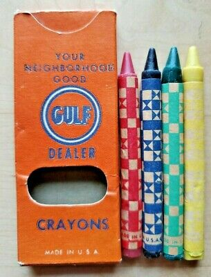 Vintage Gulf Gasoline Box of Unused Crayons NOS