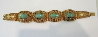 Antique Chinese Export Silver Vermeil And Jade Bracelet