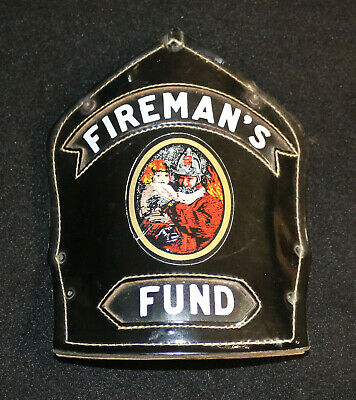 Cairns Leather Fire Helmet Front Shield Fireman's Fund Insurance Co