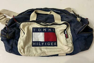 Vintage TOMMY HILFIGER Canvas Weekend Travel Duffle Gym Bag