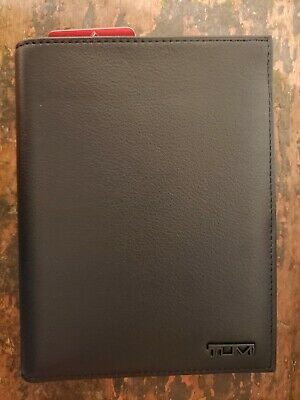 New Tumi Delta Slg Black Leather Passport Case