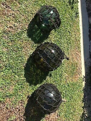 Lot of 3 VINTAGE HAND BLOWN GREEN & YELLOW GLASS FISHING FLOATS / BUOYS