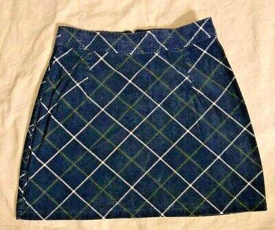 Vintage 1990's Corduroy Mini Skirt Navy Blue Plaid Fargo Clothing & Supply Large