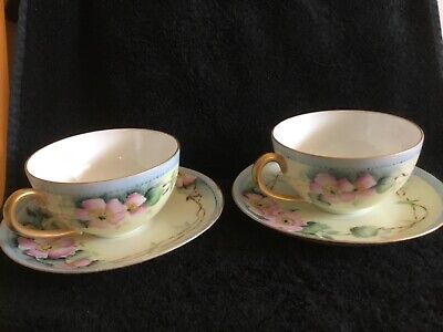 Vintage Hand Painted Pink Flowers Tea Cup Saucer Gold Handle Germany  (Signed)