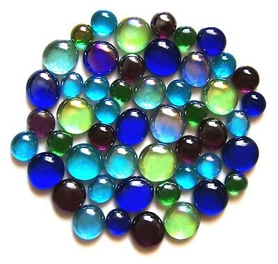 50 x Shades of Peacock Feathers Glass Mosaic Pebbles Gem Stones - Assorted Sizes
