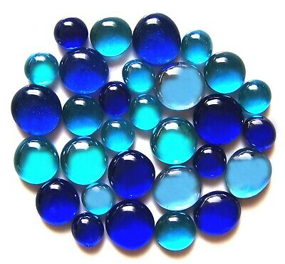 30 x Shades of Blue Seas Mosaic Pebble Nugget Gem Stones - Assorted Sizes