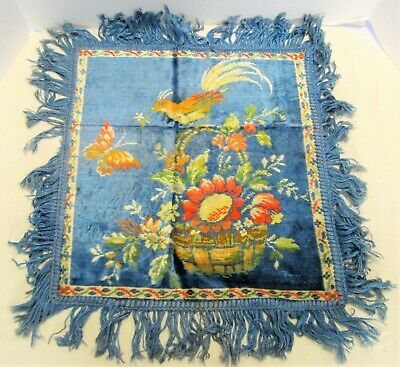 Vintage Blue Floral Velvet Tapestry Pillow Cover Bird Butterfly Fringed
