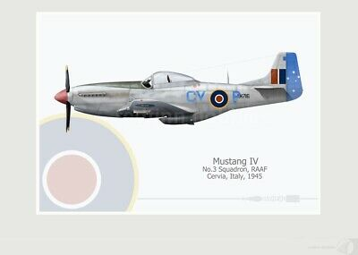 Warhead Illustrated Mustang IV 3 Sq RAAF CV P Aircraft Print Version 2