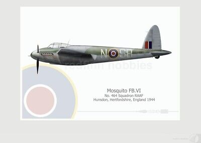 Warhead Illustrated Mosquito FB.VI 464 Sq RAAF SB-N Aircraft Print