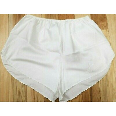 VTG 70-80s BALI SNOW WHITE APPLIQUED SATIN SCALLOPED TAP PANTS SISSY KNICKERS M