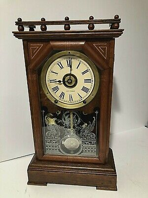 """Antique 8 Day Seth Thomas City Series """"Omaha"""" Mantle Chime Clock Working"""