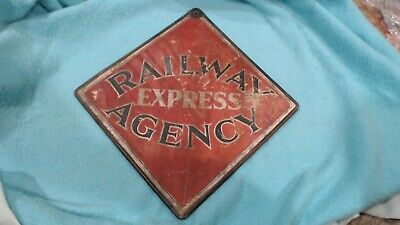 "Vintage 1930's Railway Express Agency Railroad 2 Sided 19"" Metal Frame Sign"