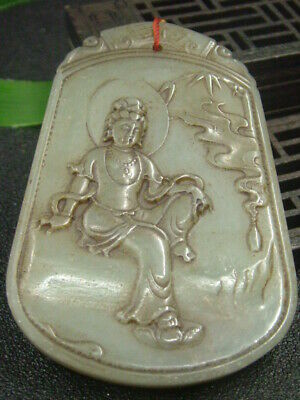 Chinese Antique Celadon Nephrite Hetian-OLD Jade carved happy Statues/Pendant