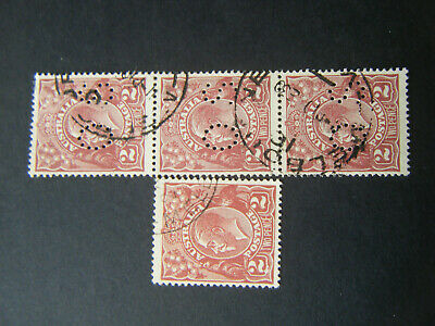 GEO V. 2d BROWN SINGLE WMK. x 4. 1 x C.T.O. WITH FLAW. 3 PUNCT. O.S. SEE SCANS