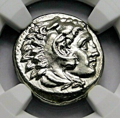 NGC MS 5/5-3/5 Alexander the Great. Stunning Lifetime Drachm. Greek Silver Coin
