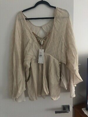 Camilla Beaded Printed Cape Playsuit Size 10