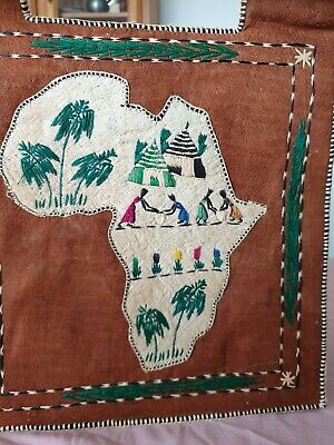 Vintage African Artisan Handmade Fabric Embroidered Tote Bag plus 3 Acompliments