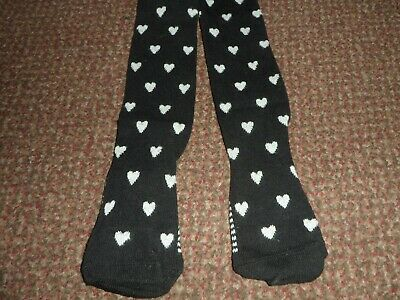 new Girls funky black with grey heart Tights 2 - 3 YEARS - BNWOT
