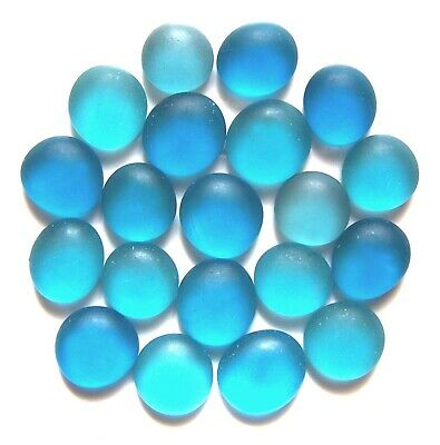 20 x Frosted Shades of Winter Blues Mosaic Craft Art Pebbles Glass Gem Stones