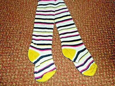 new f+f Girls grey with multi colour stripe Tights 2 - 3 YEARS - BNWOT