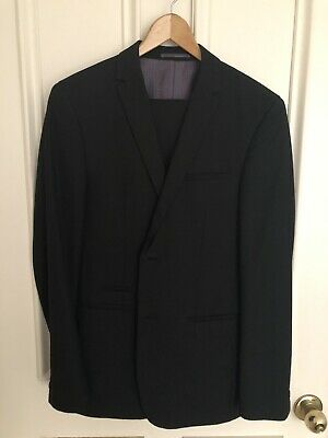 Shoreditch London Men's Wool Blend Black 2 Button Slim Fit Suit Size 38 Medium