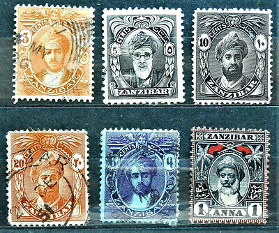Lot Of 6 Old British Colony Stamps Zanzibar , / Used / Rare