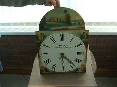 "Antique / Welsh / ""J V Thomas Newcastle Emlyn""Clock Movement Only ""Painted Dial"""