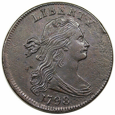 1798 Draped Bust Large Cent, Style 1 Hair, scarce S-158, R4, XF-AU detail