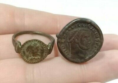 2 PCS of Antique Roman Greek Bronze Signet Stamp Intaglio Engraved Seal Rings